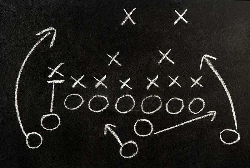 football gameplan chalkboard